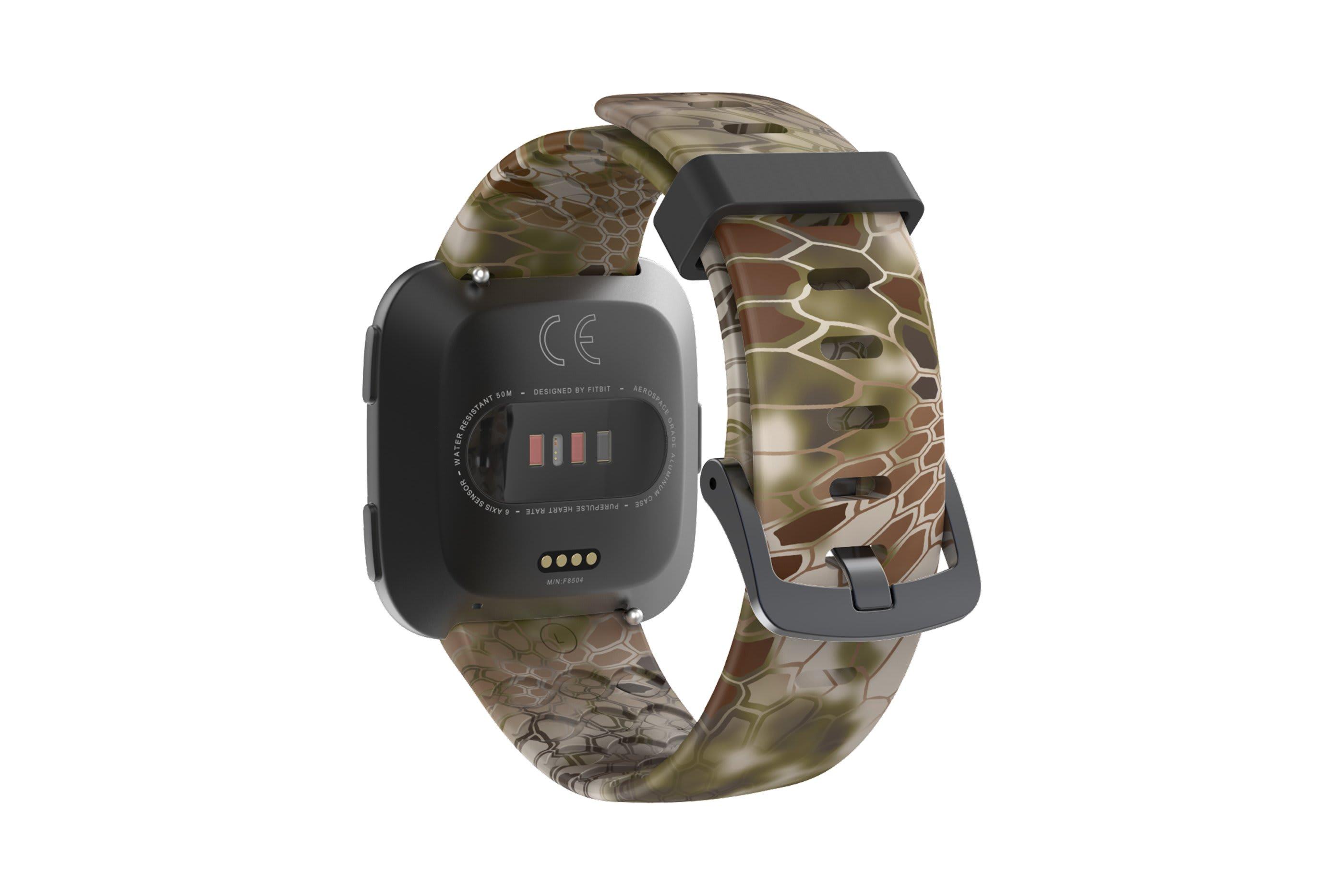 Kryptek Highlander Fitbit Versa watch band viewed top down