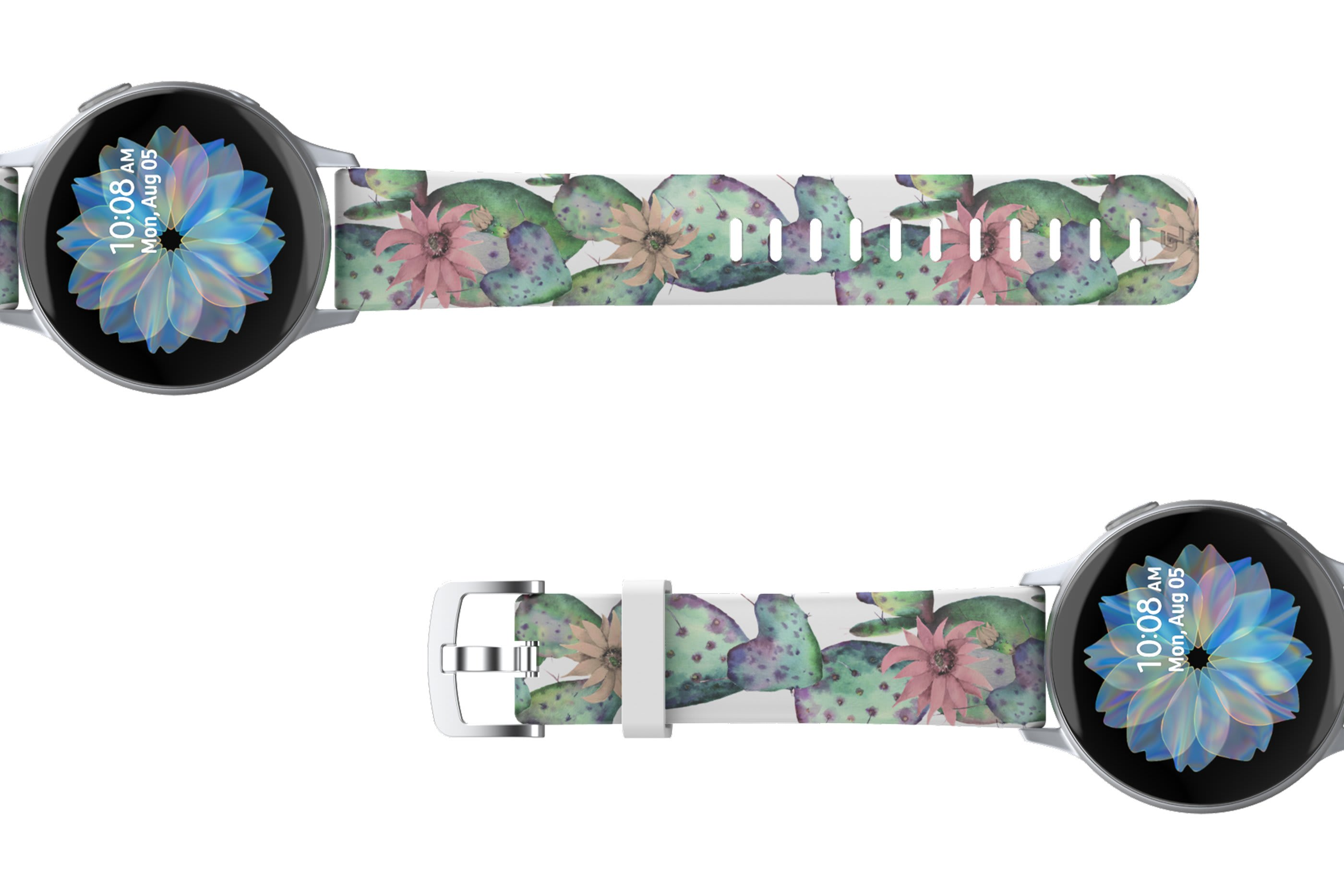Cactus Bloom Samsung 22mm watch band viewed top down