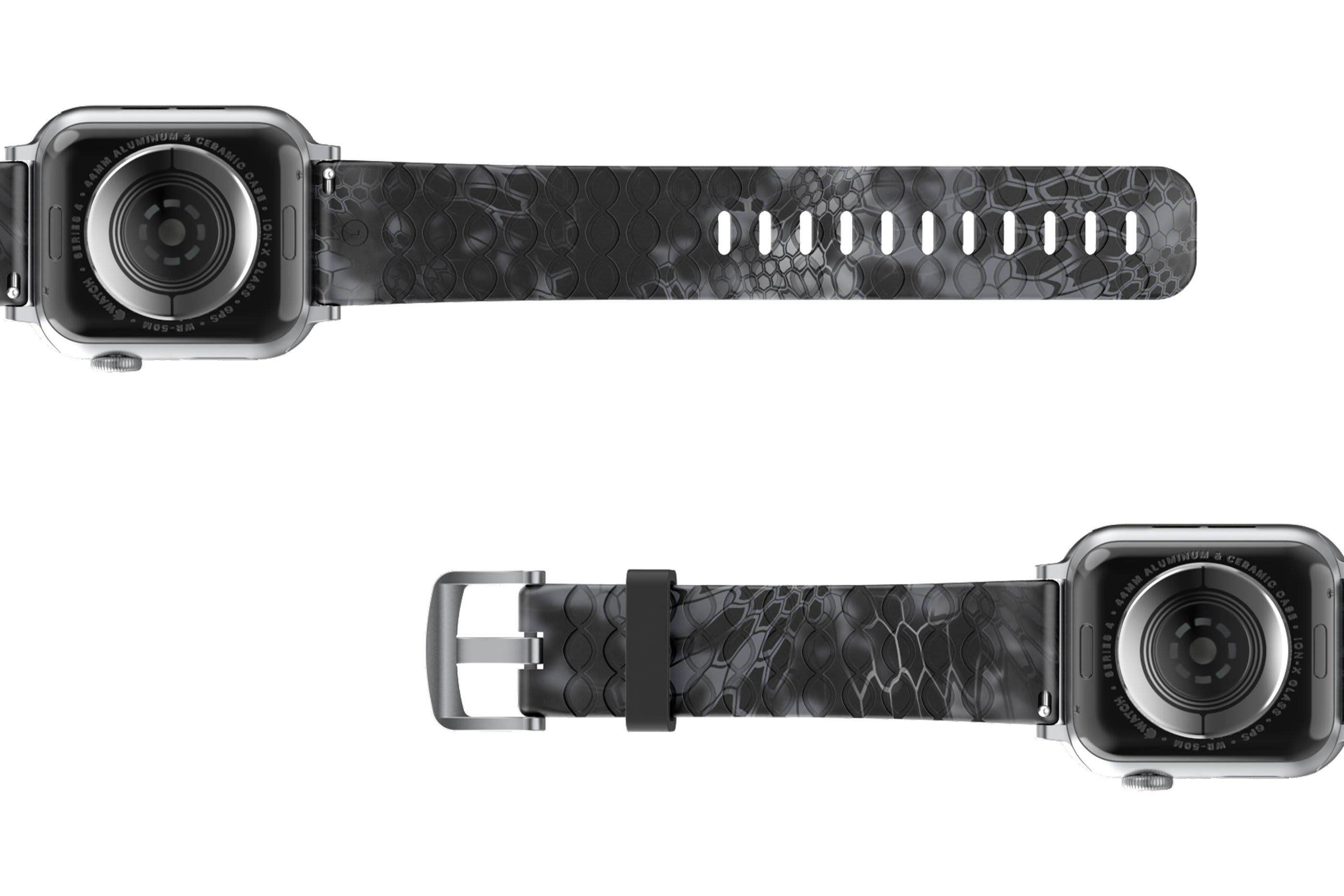 Kryptek Typhon Apple Watch Band with Silver hardware viewed bottom up