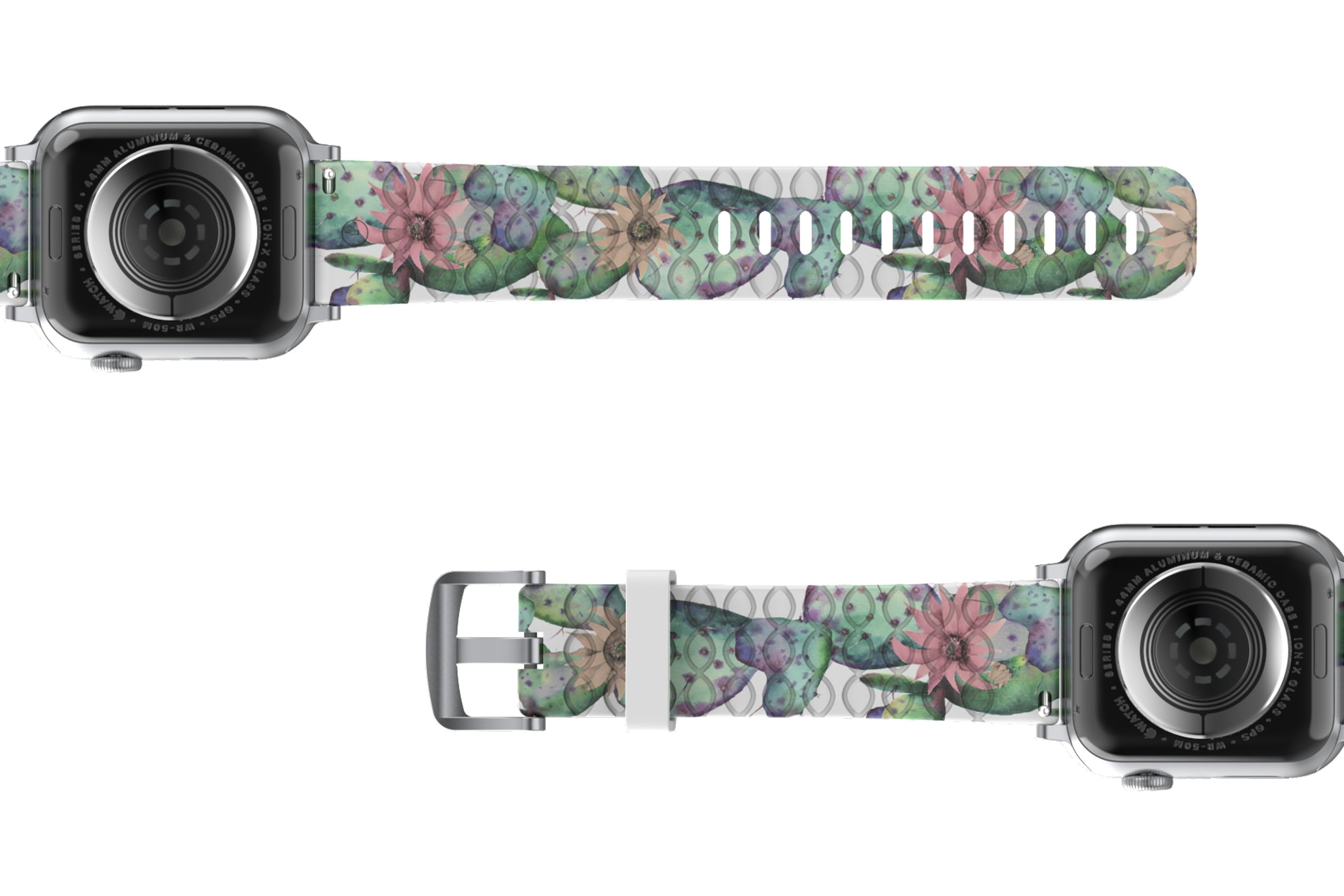 Cactus Bloom Apple Watch Band with gray hardware viewed bottom up