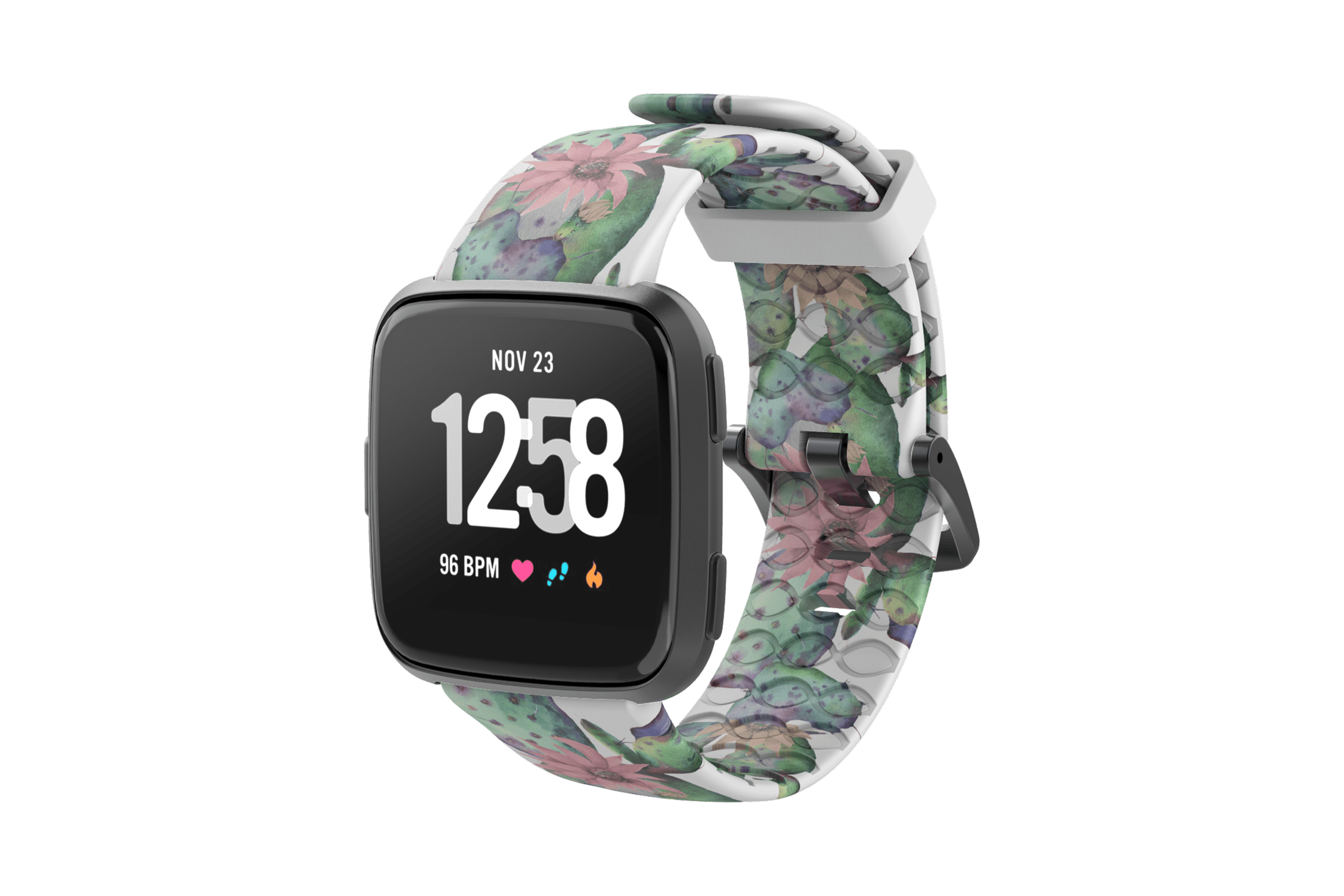 Cactus Bloom Fitbit Versa Watch Band with gray hardware viewed front on