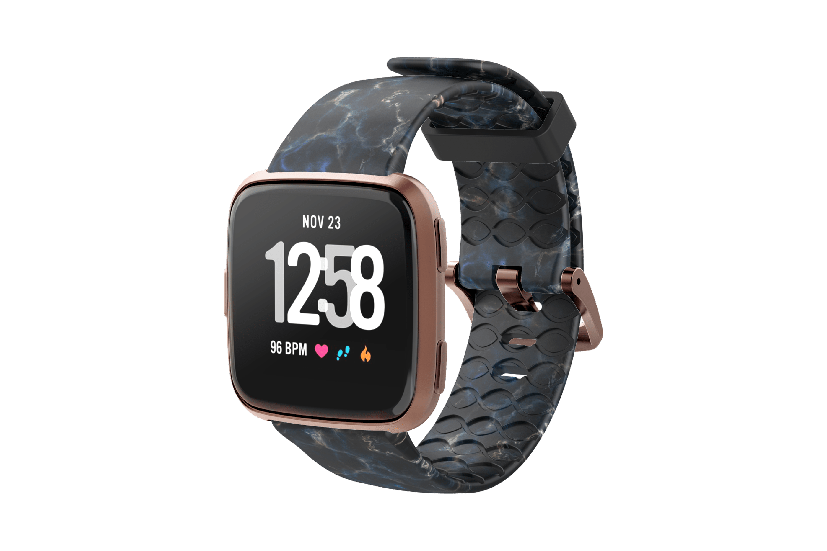 Nomad Rapids Fitbit Versa Watch Band with rose gold hardware viewed front on