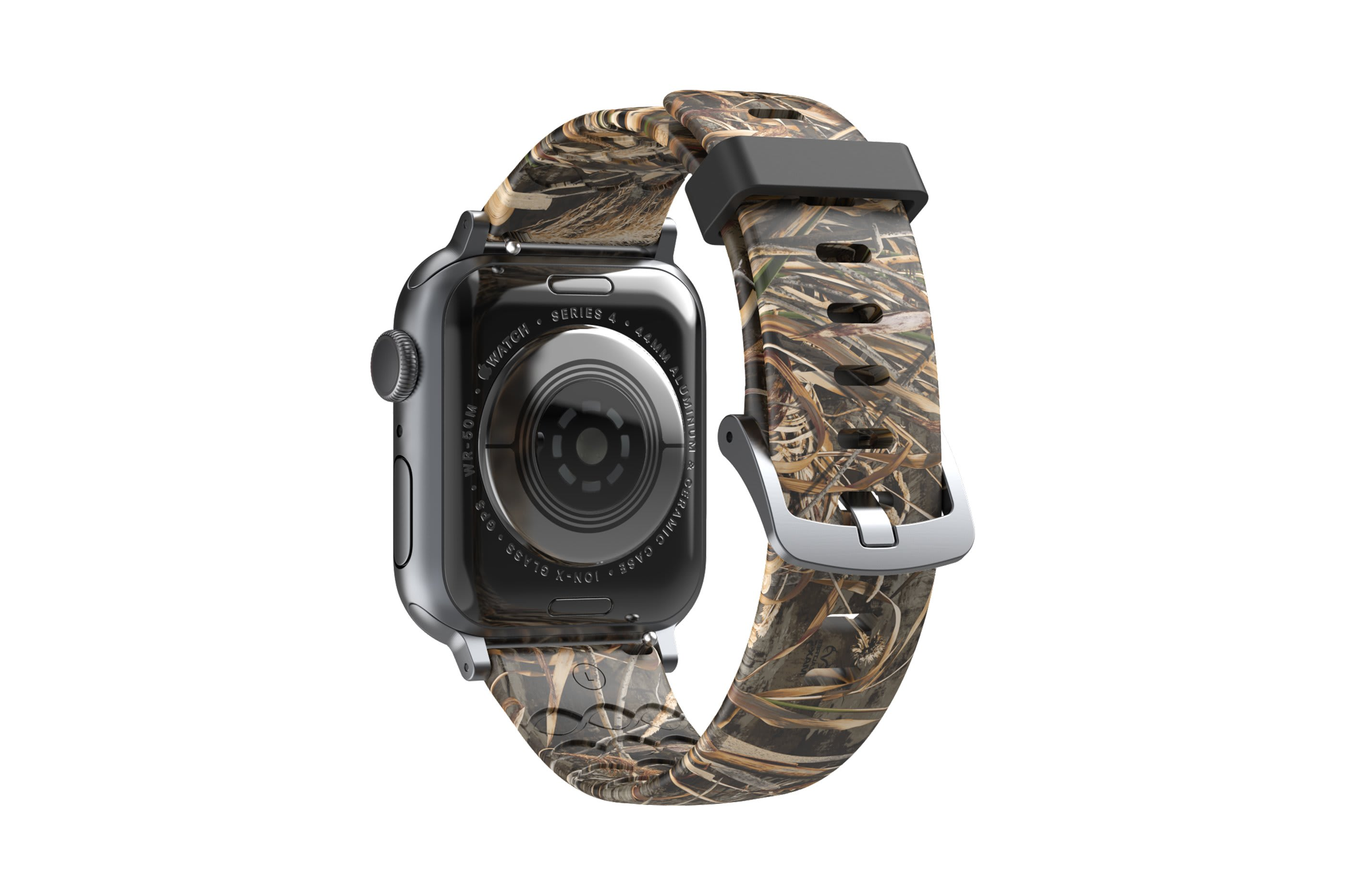 Realtree Max 5 Apple Watch Band with silver hardware viewed from top down