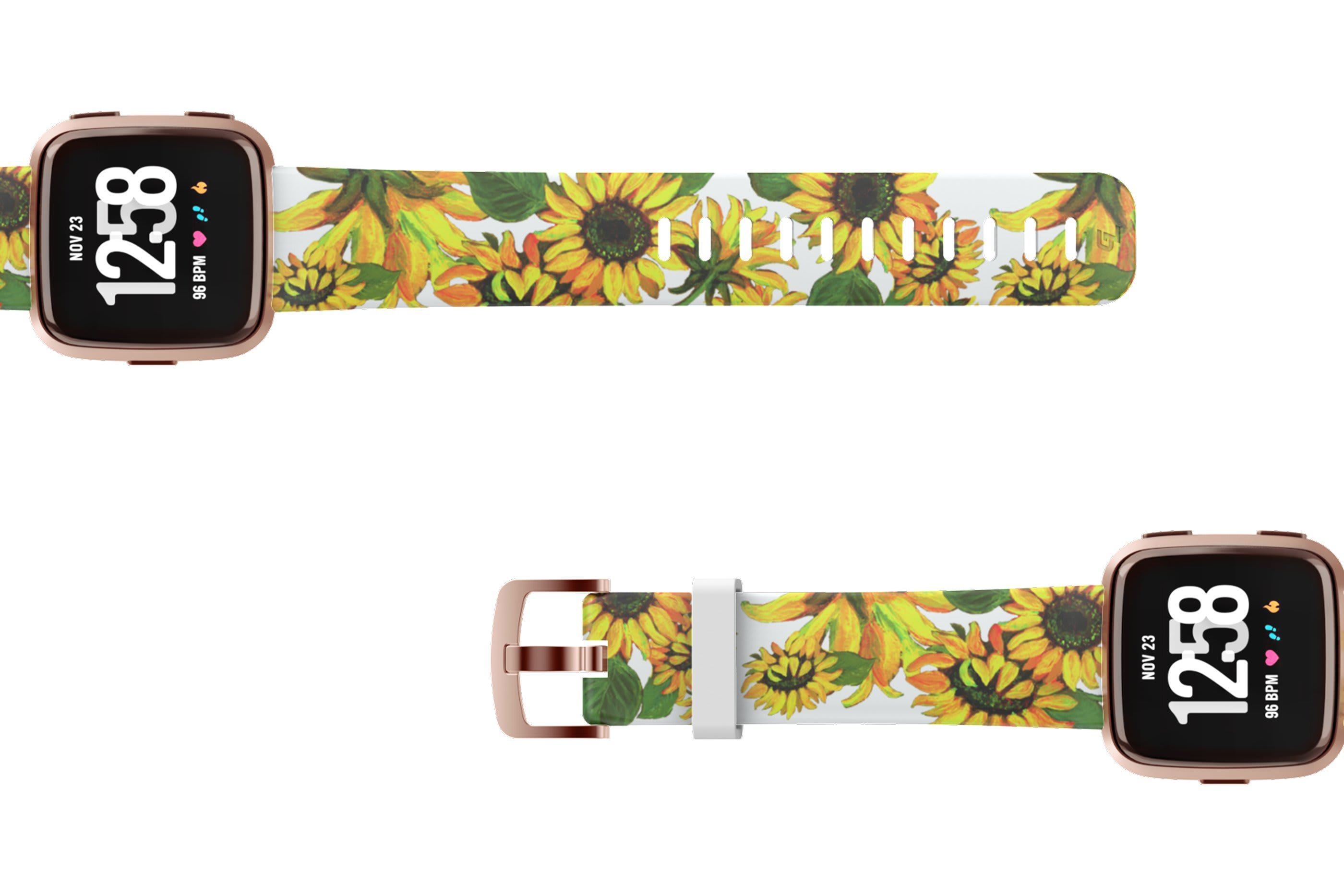 Sunflower Fitbit Versa watch band with rose gold hardware viewed top down