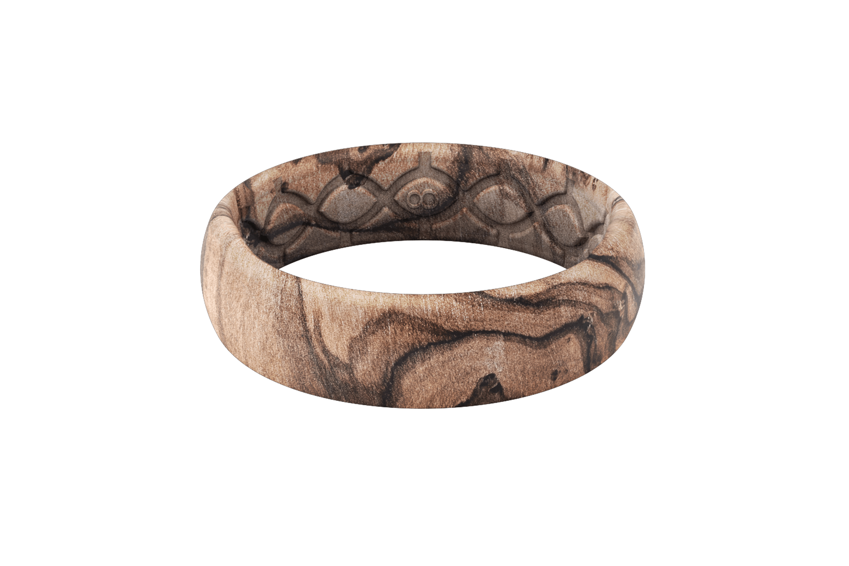 Burled Walnut - Thin - Groove Life Silicone Wedding Rings