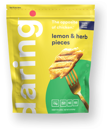 Daring Lemon and Herb Plant Based Chicken Pieces package