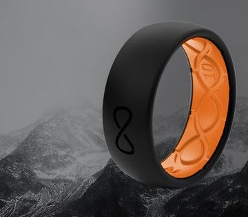 Shop Men's Solid Rings, featuring Black and Orange solid ring