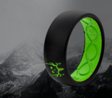 Shop Men's Exclusive Rings, featuring Bone Collector Black and Green ring