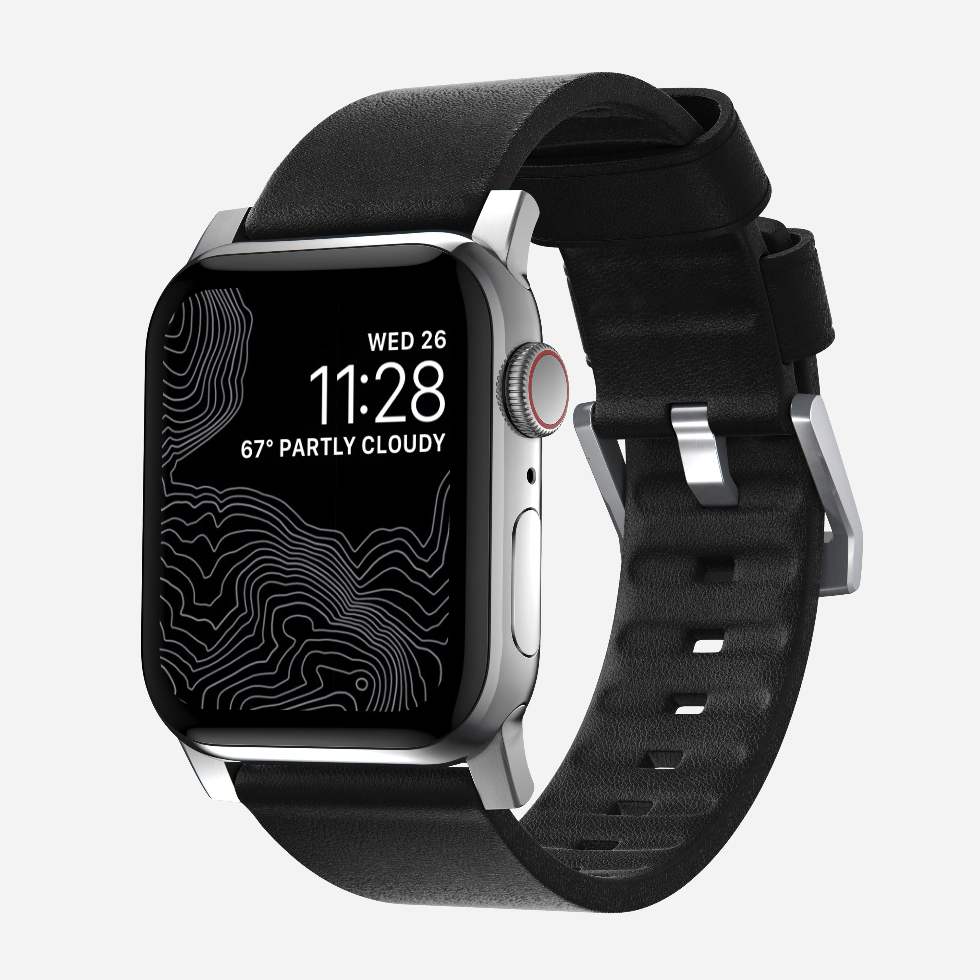 Active strap black leather silver hardware