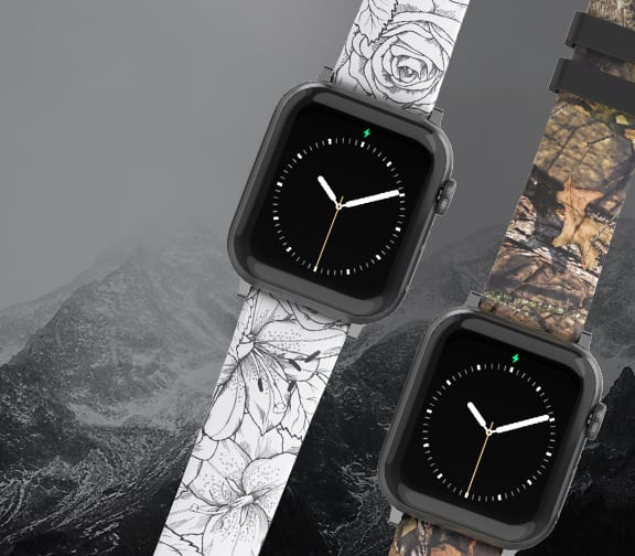 Shop Apple Watch Bands, featuring Winter Rose and Camo Watch Bands