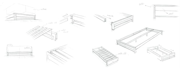 suzanne platform bed drawings