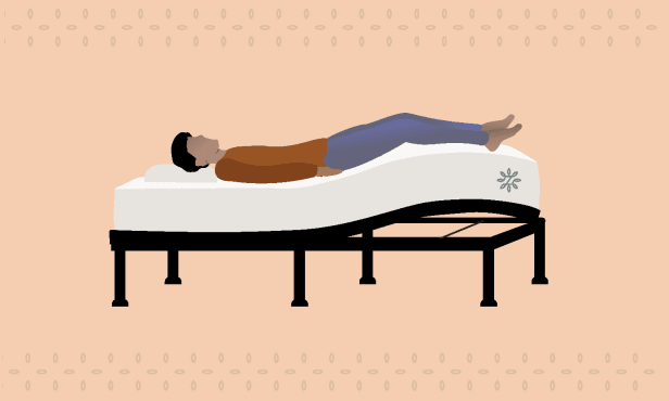 Adjustable bed positioned with legs elevated