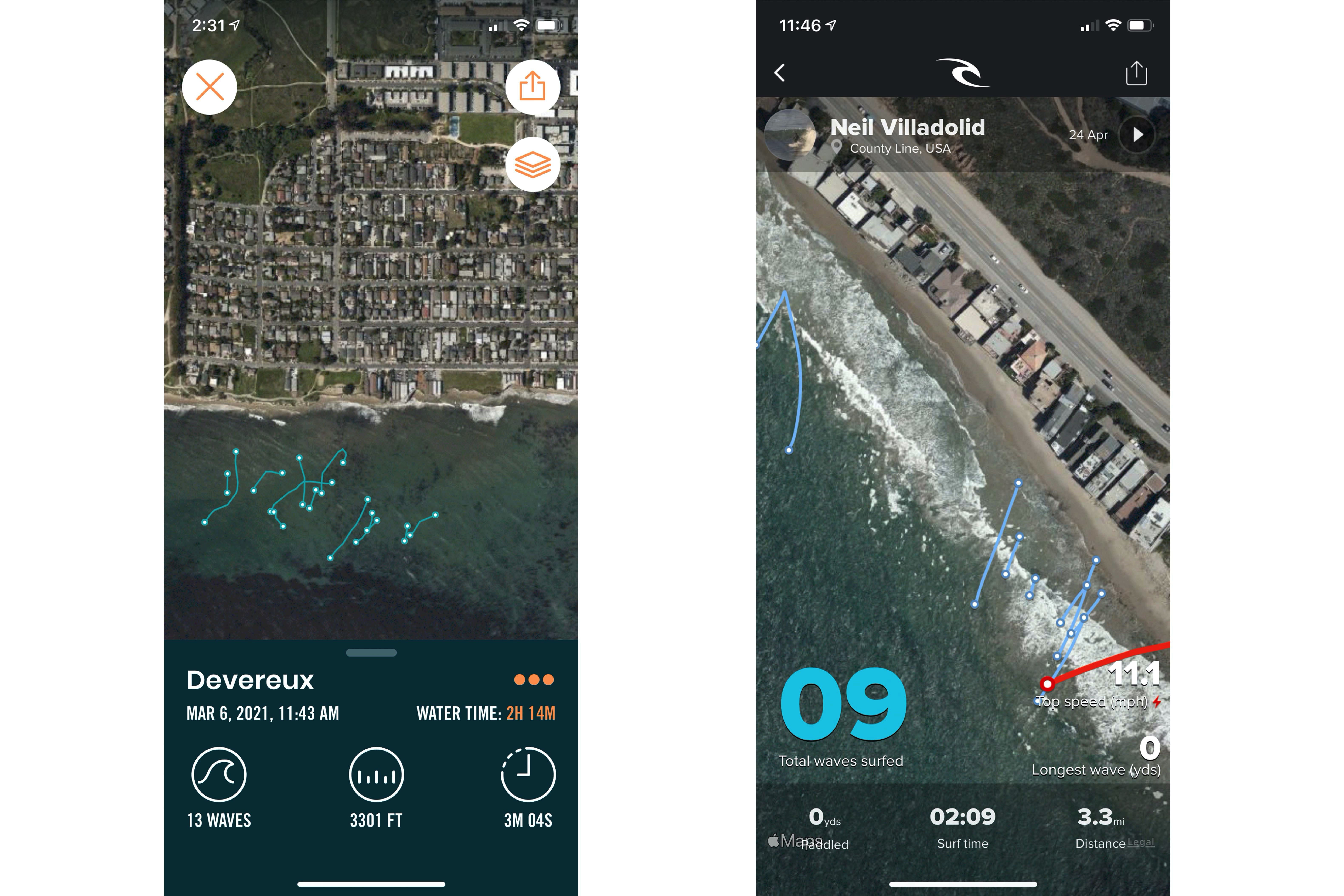 Dawn Patrol and Rip Curl app on an iPhone