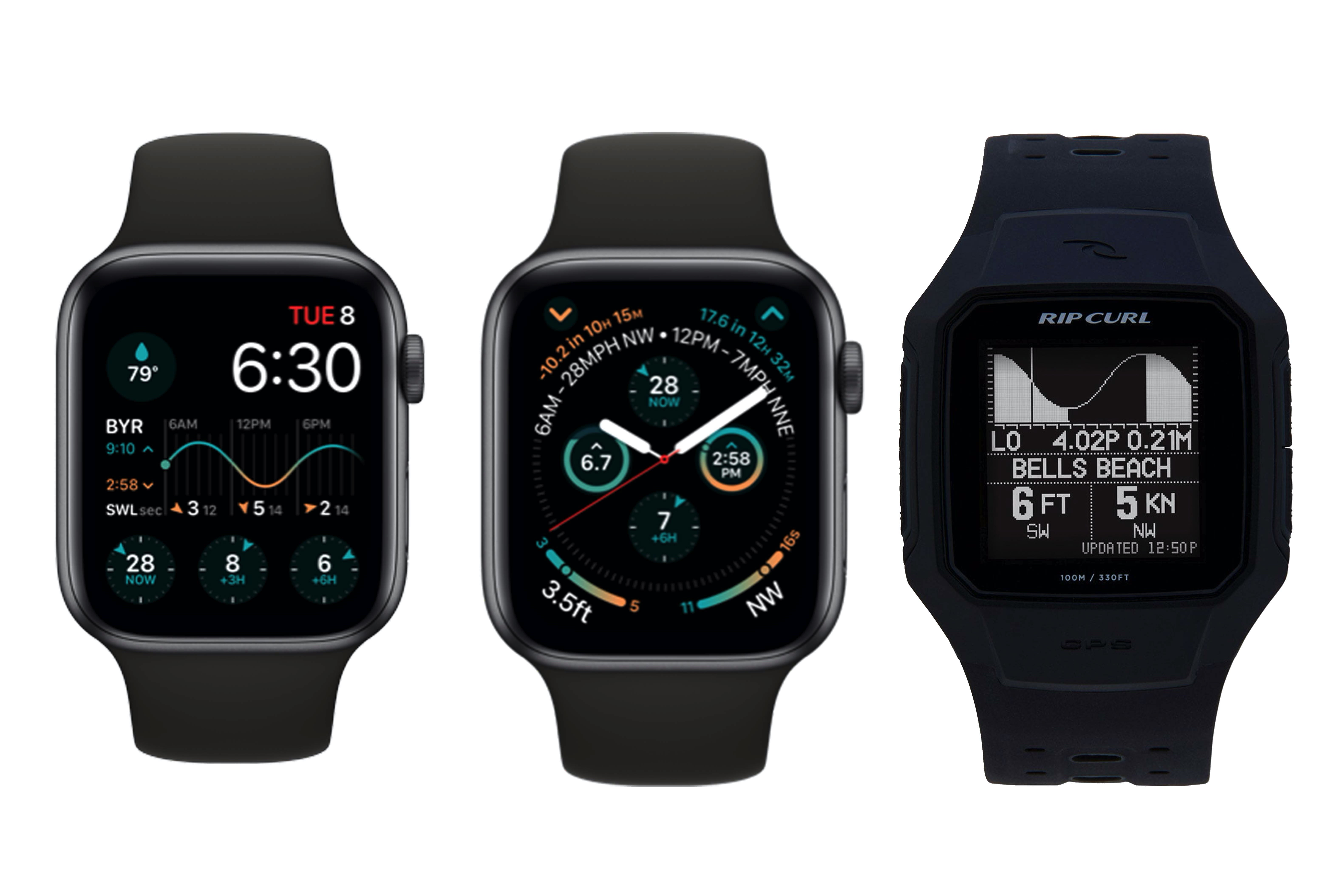 Apple Watch Series 6 Face show swell and tide charts