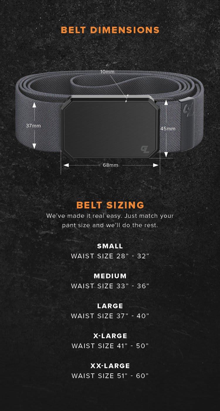 "Belt Sizing; Small 28"" - 32"", Medium 33"" - 36"", Large 37"" - 40"", XL 41"" - 50"",  XL 51"" - 60"""