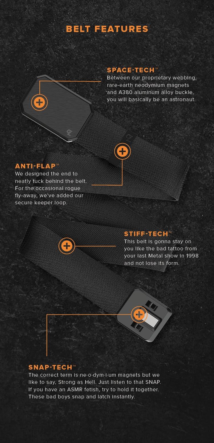 Belt Features; Space Tech, Stiff Tech, Snap-Tech and Anti-Flap