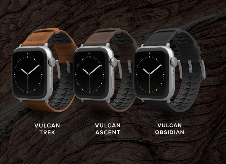 Lineup of Vulcan Trek, Vulcan Ascent, and Vulcan Obsidian watch bands