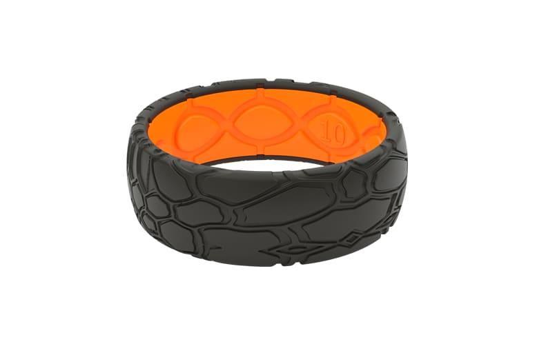 Kryptek Dimension Black and Orange ring viewed front on