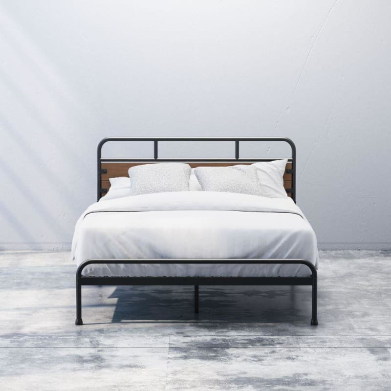 Eli Metal and Wood Platform Bed
