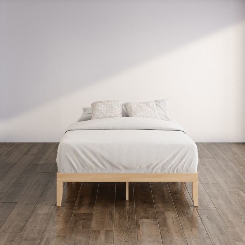 Moiz wood platform bed frame brown