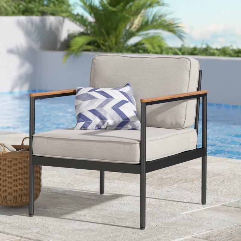 Savannah Aluminum and Wood Outdoor Armchair