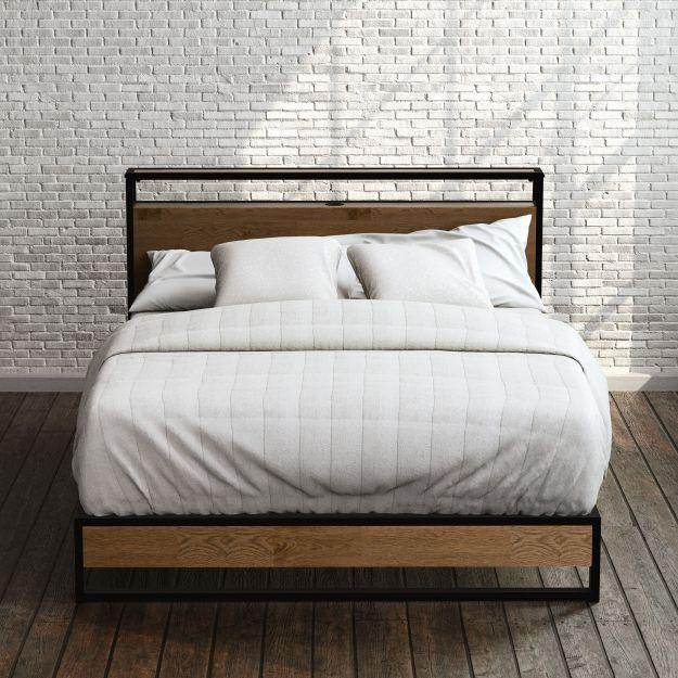 Suzanne Metal and Wood Platform Bed Frame with Headboard Shelf and USB Port