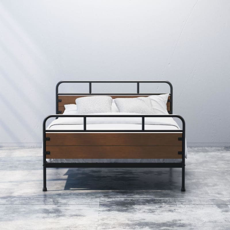 Eli Metal and Wood Platform Bed with Footboard