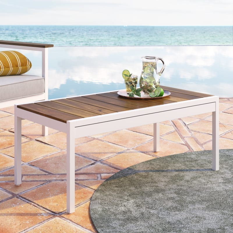 Pablo Aluminum and Acacia Wood Outdoor Table with Waterproof Cover