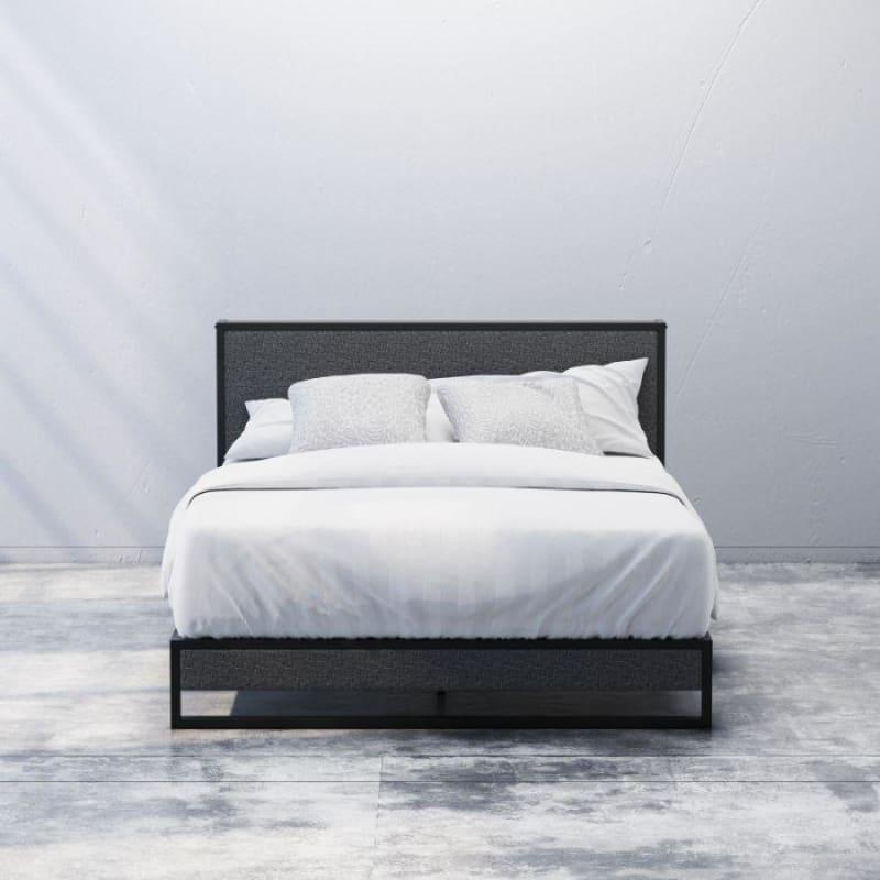 Christina upholstered platform Bed Frame with Headboard Shelf Front