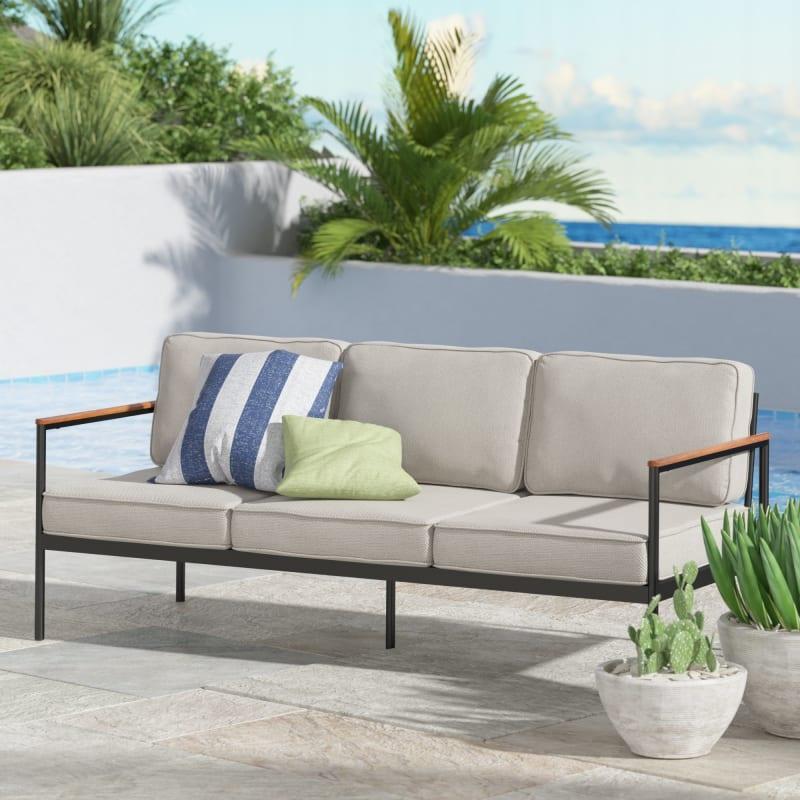 Savannah Aluminum and Acacia Wood Outdoor Sofa with Cushions