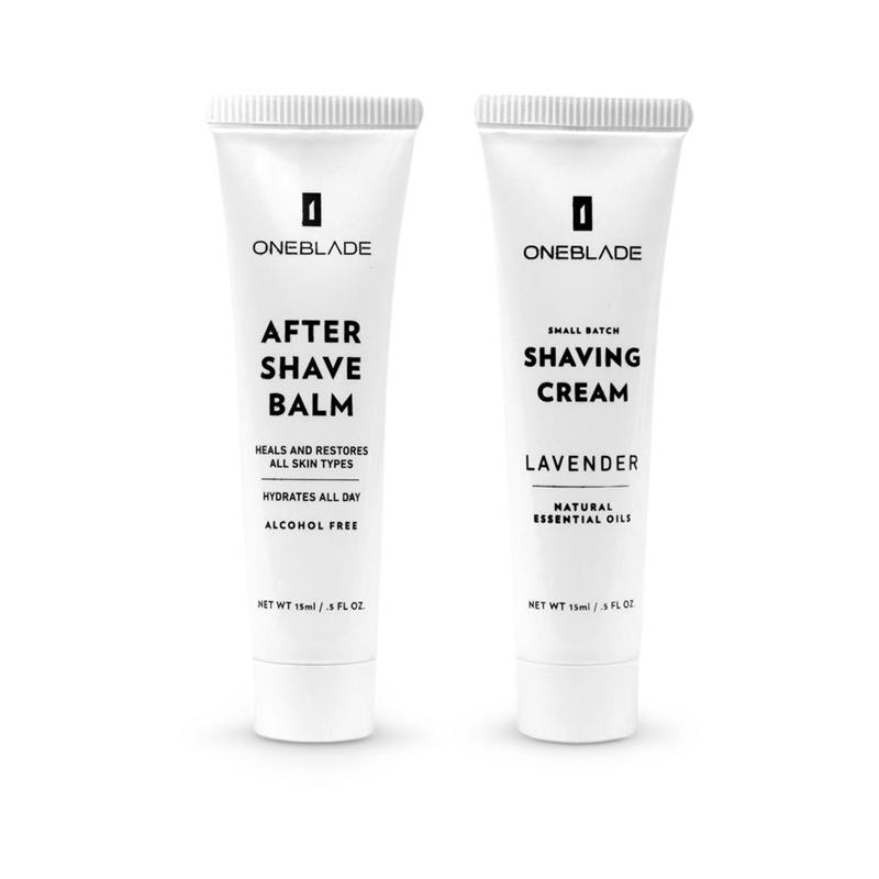 OneBlade travel size bundle with after shave balm and shaving cream