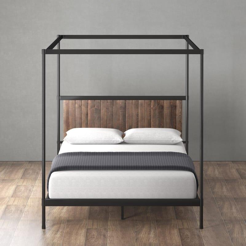 Wesley Metal and Wood Canopy Platform Bed