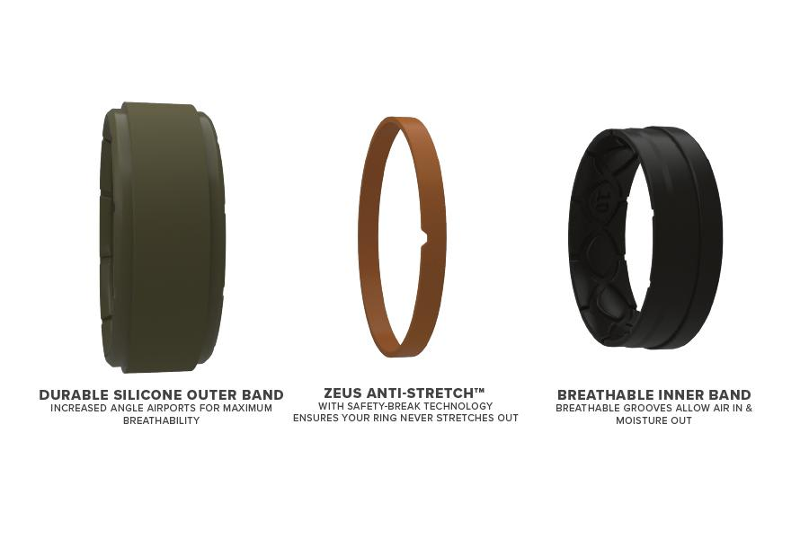 Zeus Step Olive Drab/Black - Groove Life Silicone Wedding Rings