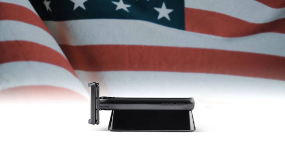 OneBlade Genesis Razor with American Flag in background