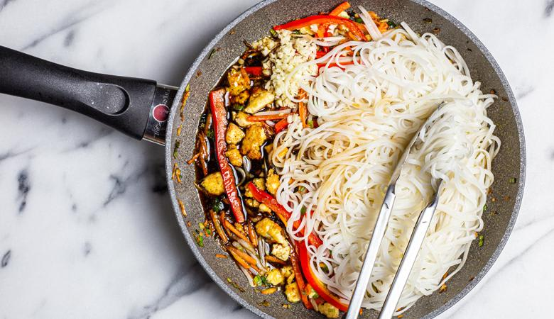 Vegan pad thai and rice noodles