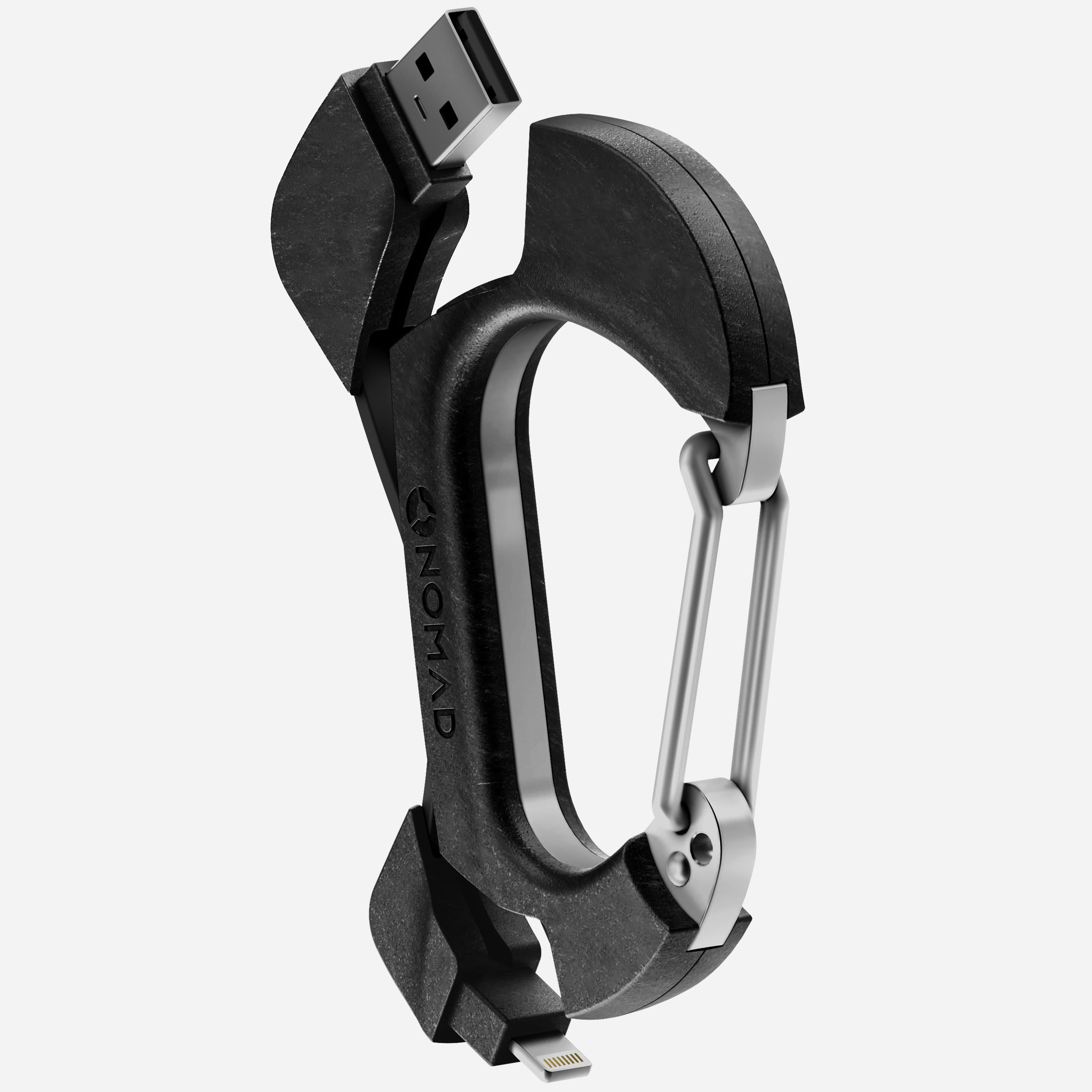 Carbon Carabiner Lightning Cable Side View Expanded
