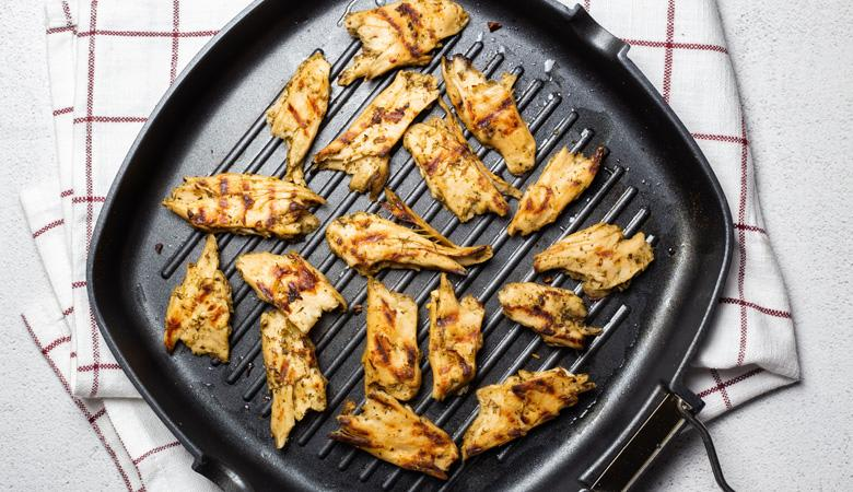 Daring Plant Based Chicken Pieces in grill pan
