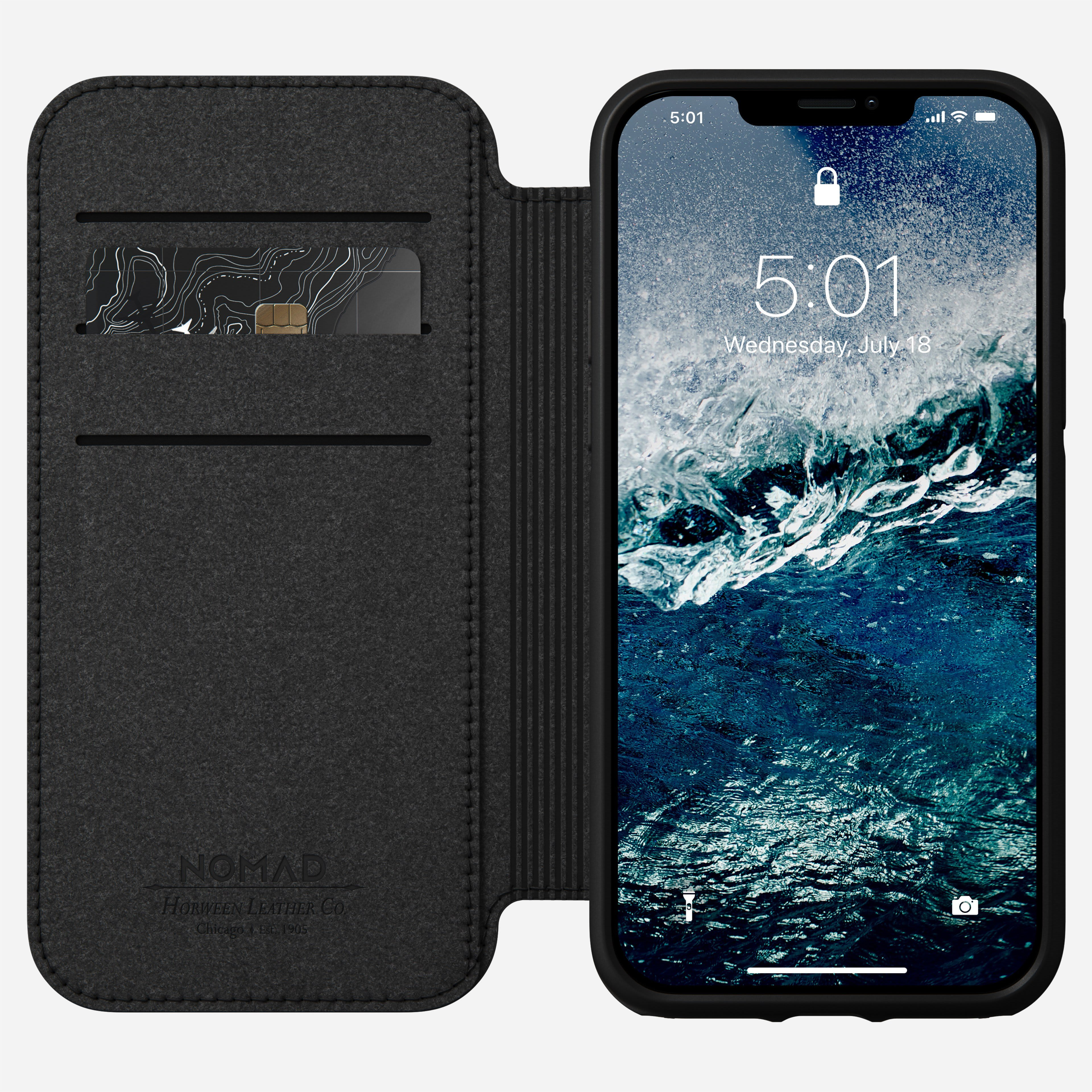 Rugged folio horween leather black iphone 12 pro