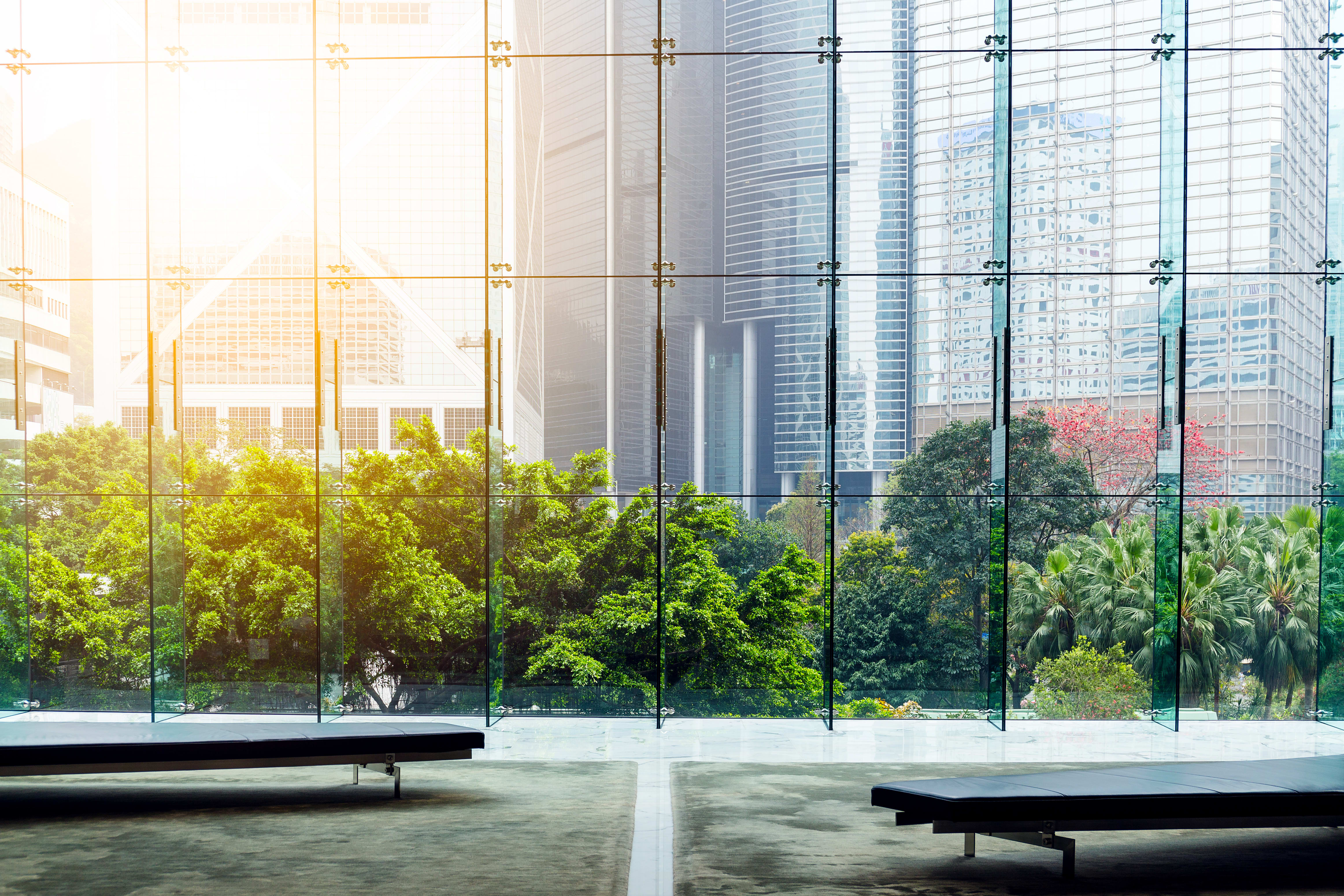 Really nice building with floor to ceiling glass windows