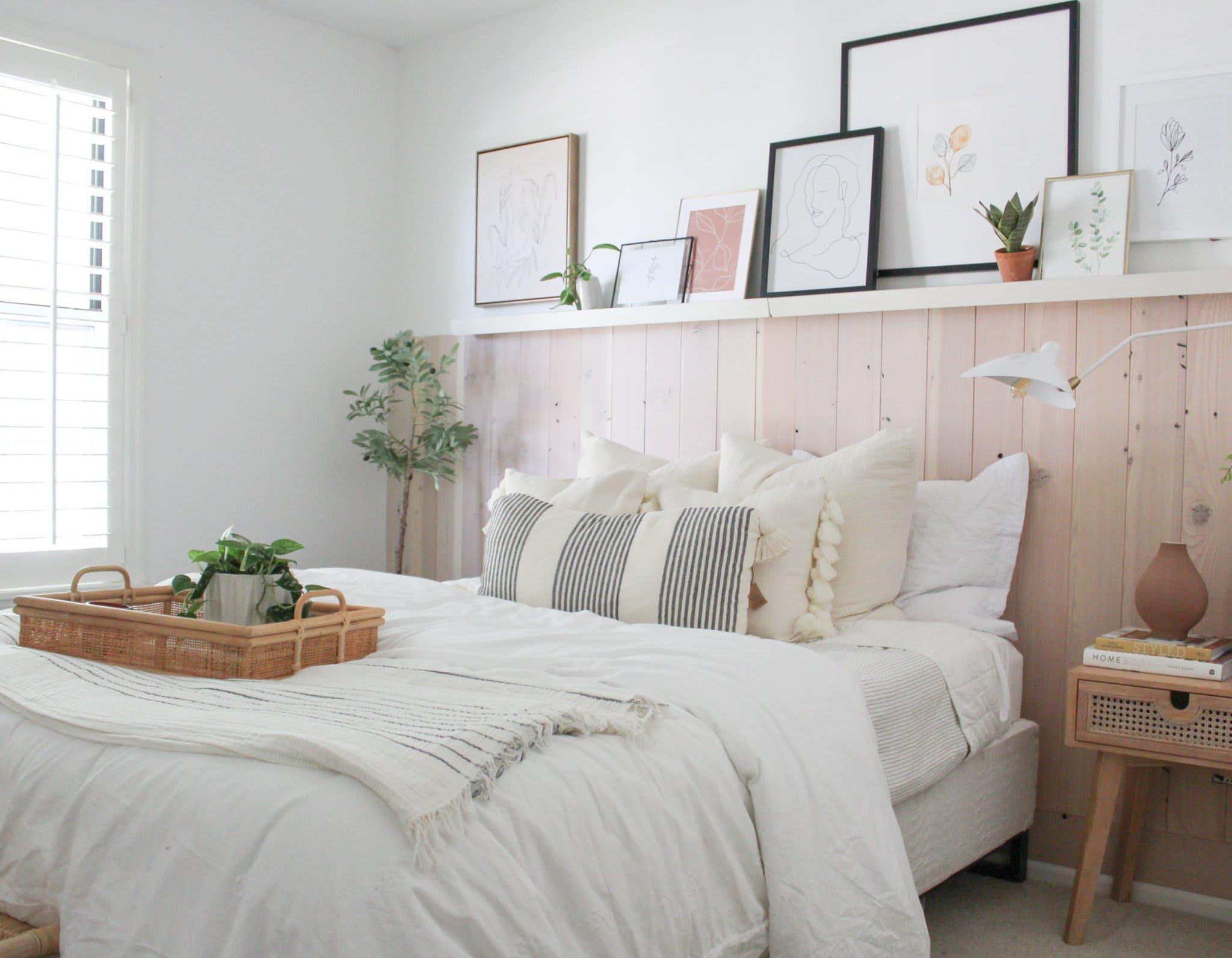 Stephanie Pohlman Designs bedroom design with a Stikwood minimalist fir reclaimed wood wainscot.