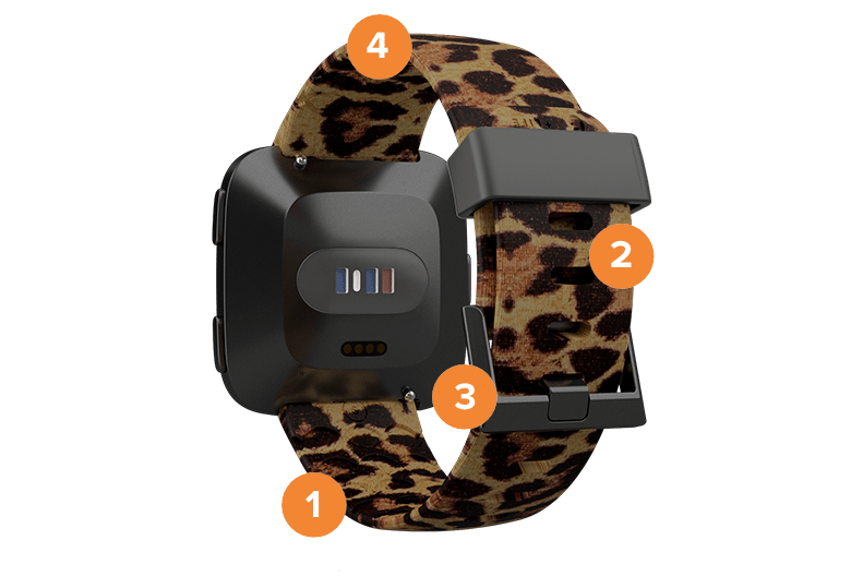 Fitbit Versa Leopard Watch Band with numbers overlaid on it