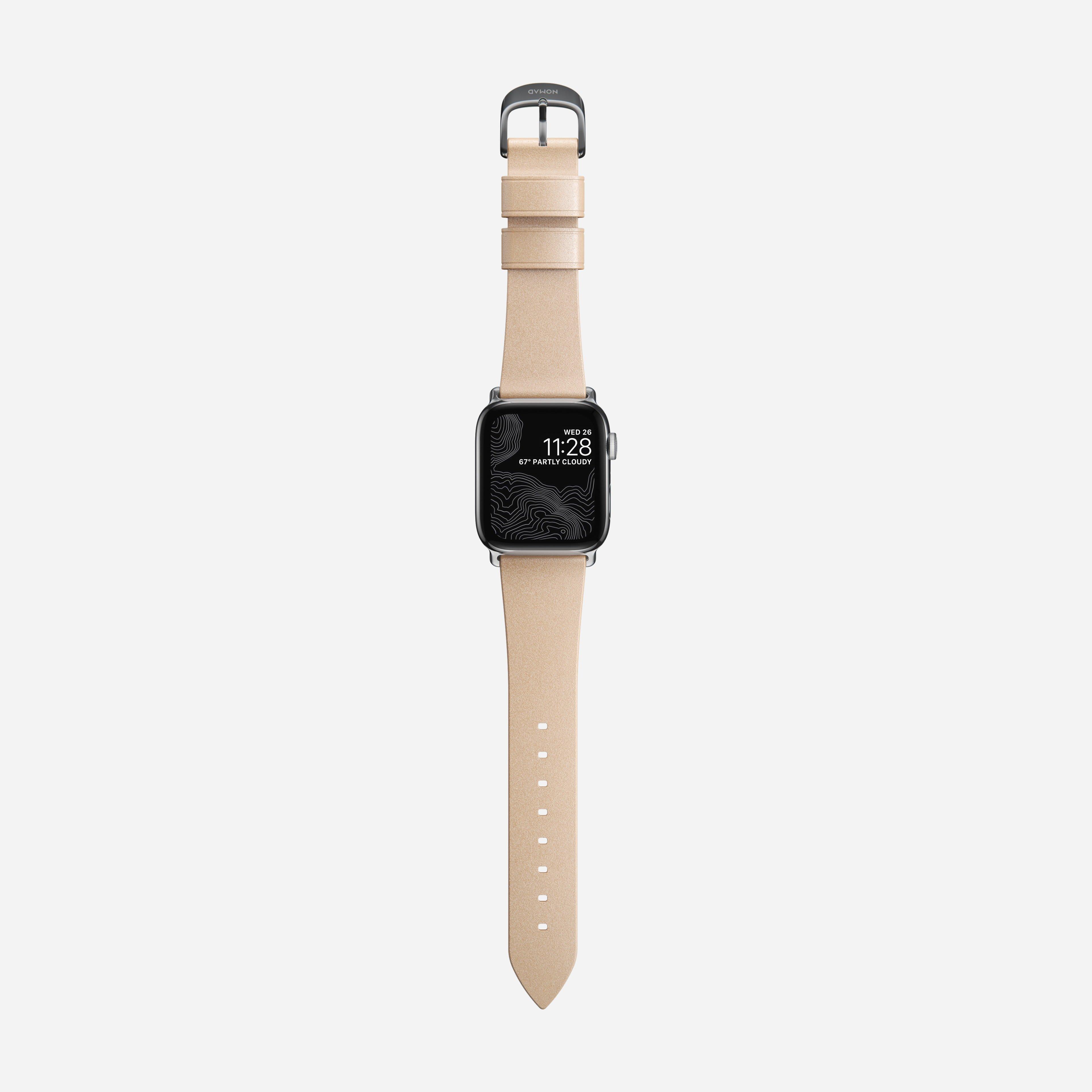 Modern slim strap horween leather natural silver hardware