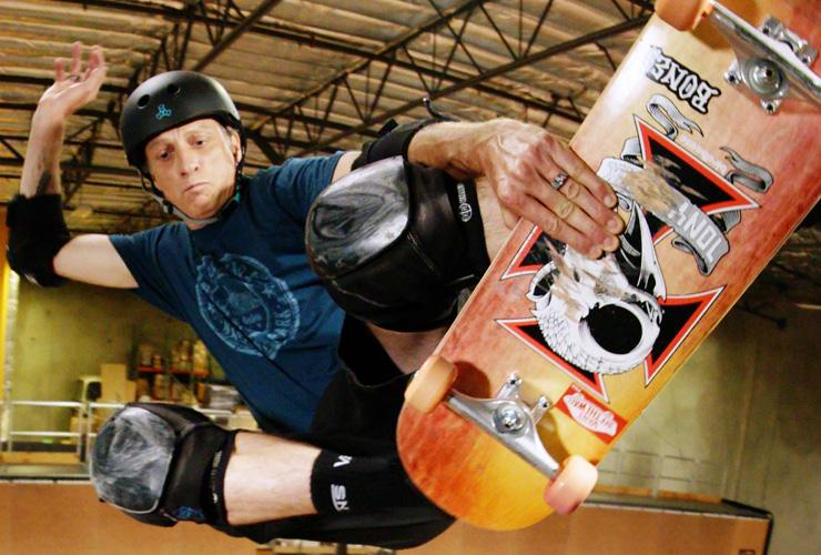 Tony Hawk performing a skateboarding trick