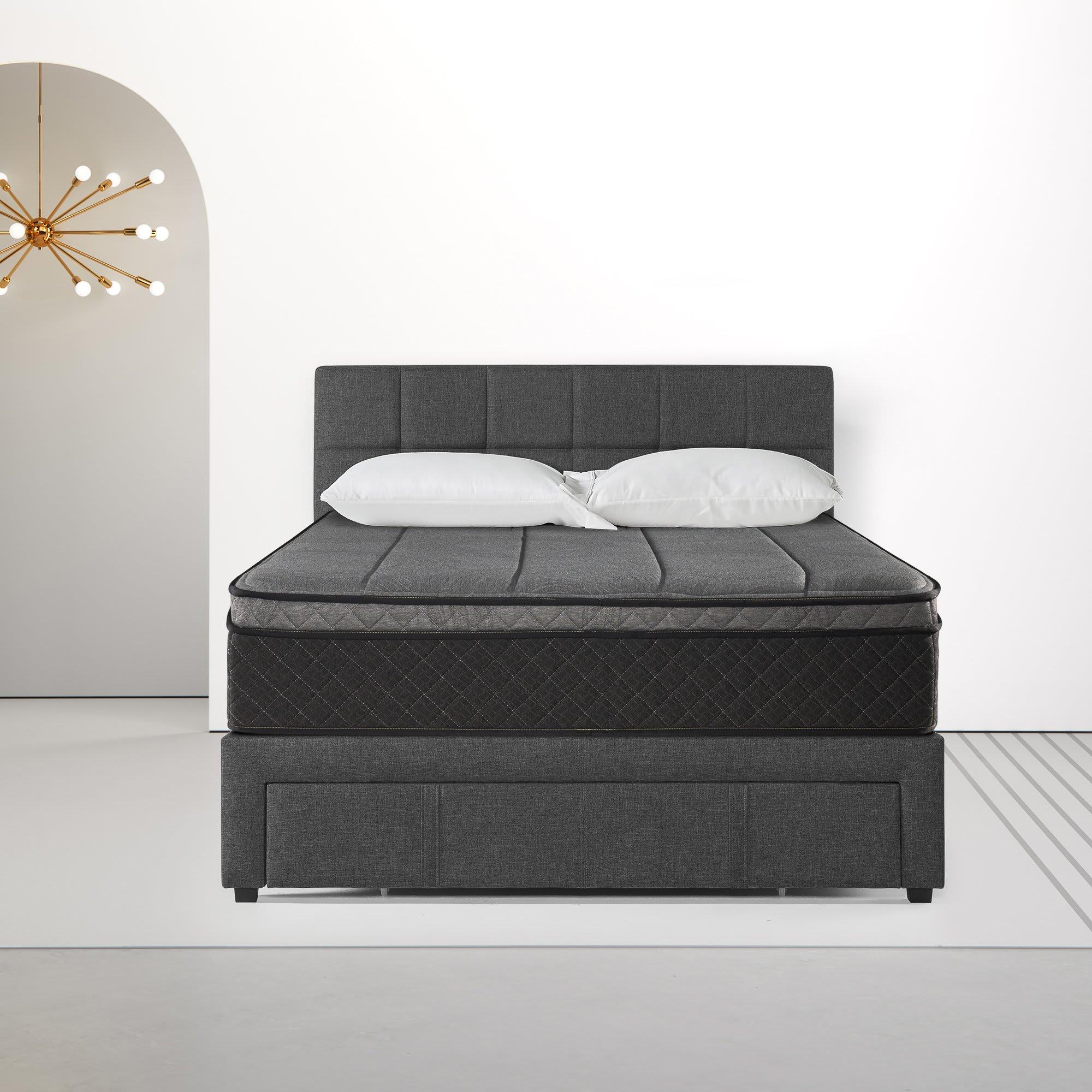 Lottie Storage Platform Bed and Euro Top iCoil® Hybrid Mattress Set