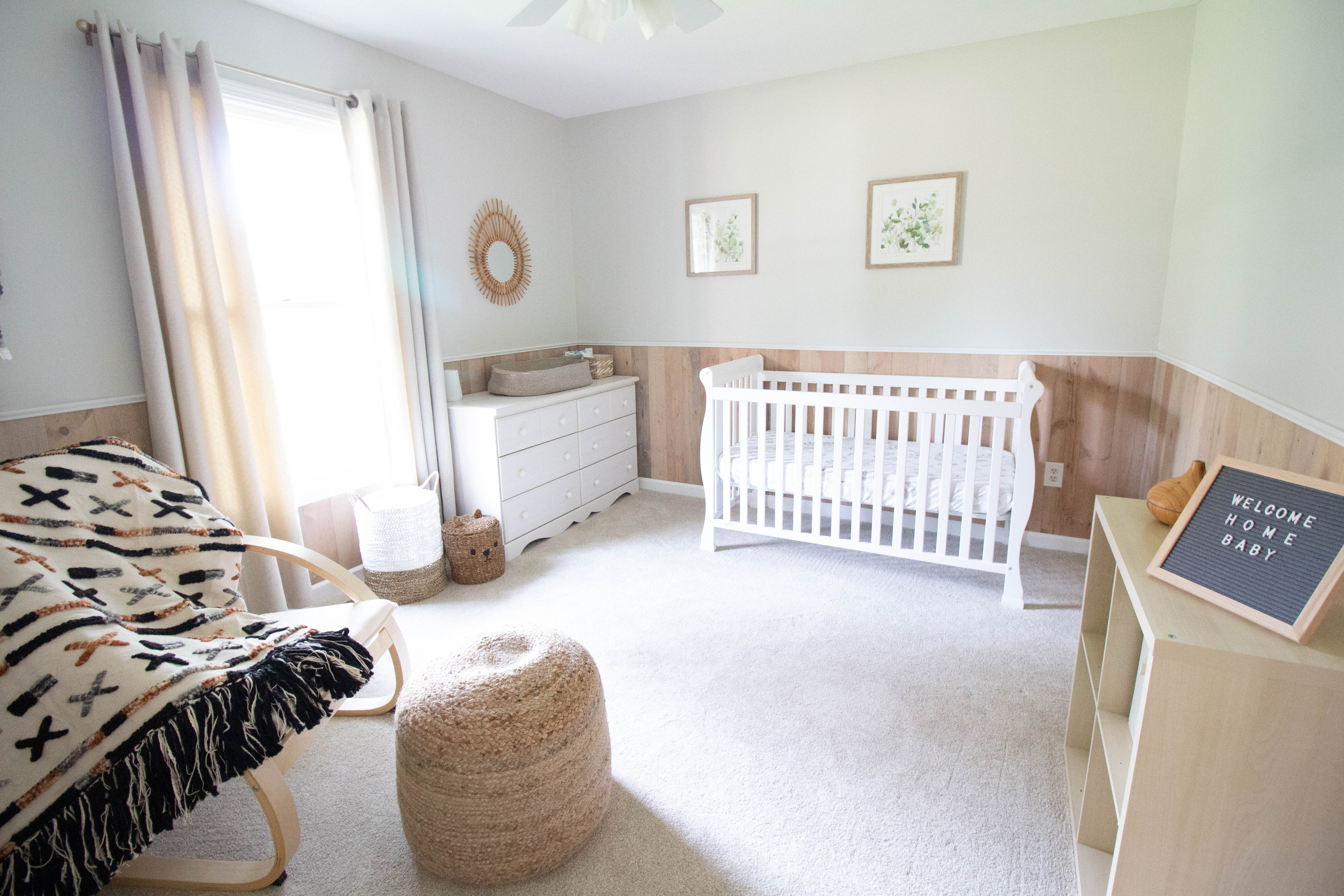easy diy peel and stick wood wall planks wainscoting in a nursery