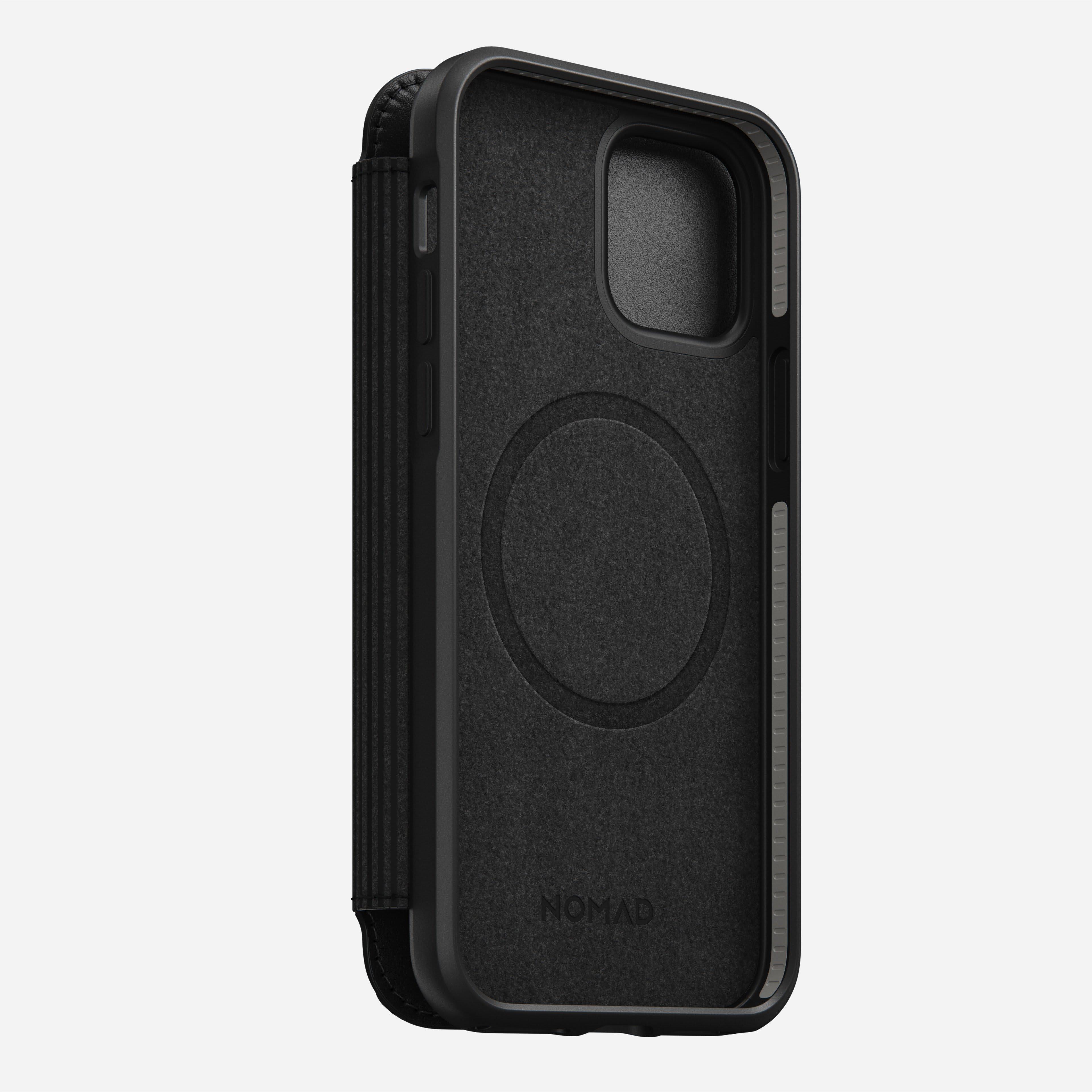 Rugged folio magsafe horween leather black iphone 12 pro 1