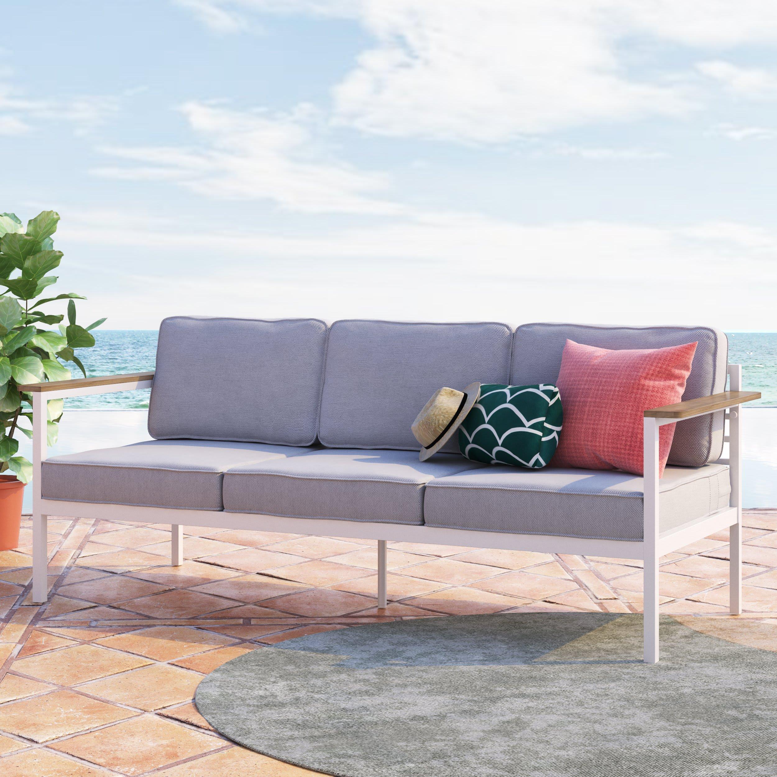 Pablo Aluminum and Acacia Wood Outdoor Sofa