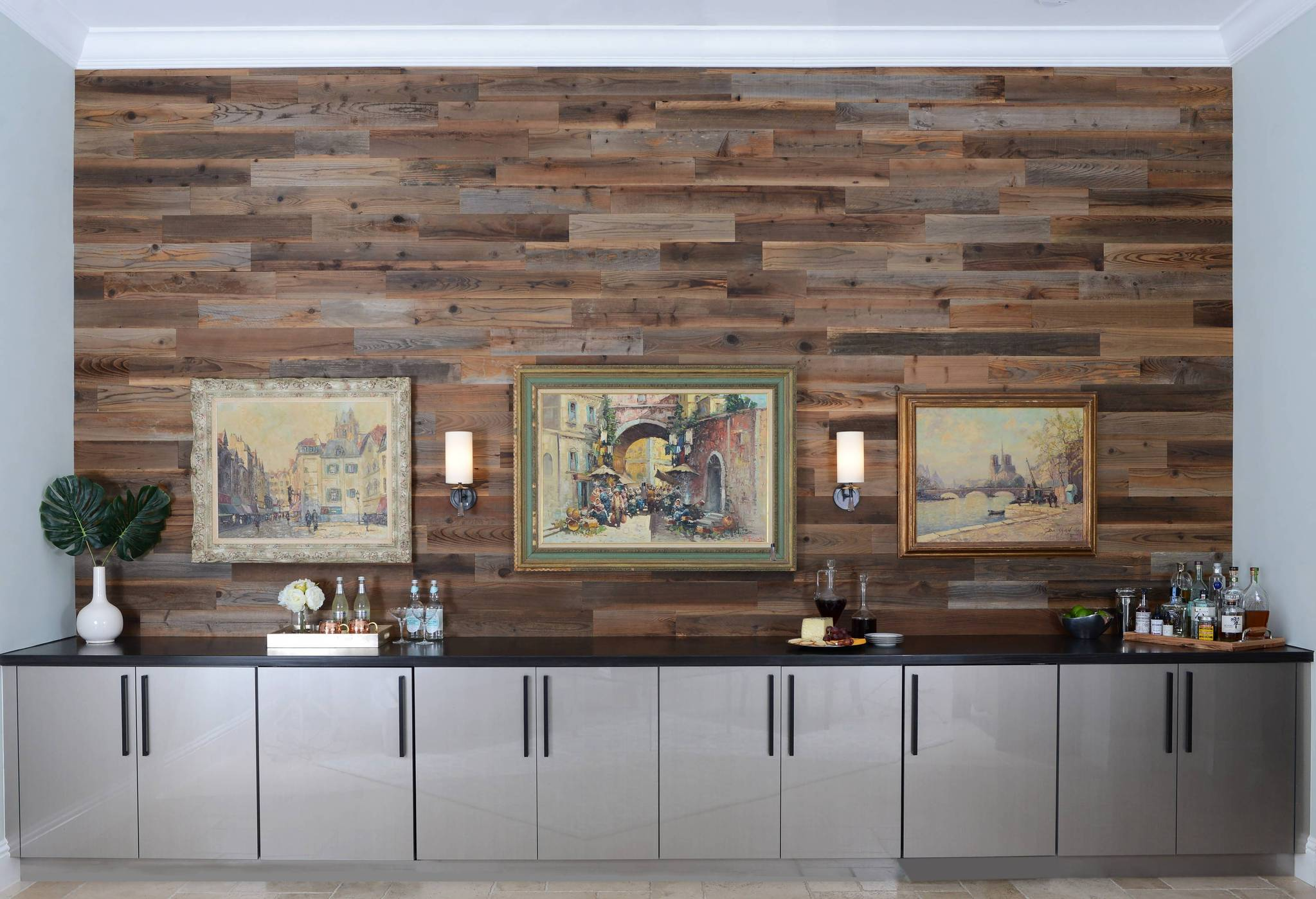 Classic rustic yet modern design by Stacy Miller Design that uses Stikwood peel and stick reclaimed redwood planks to compliment large artwork pieces.