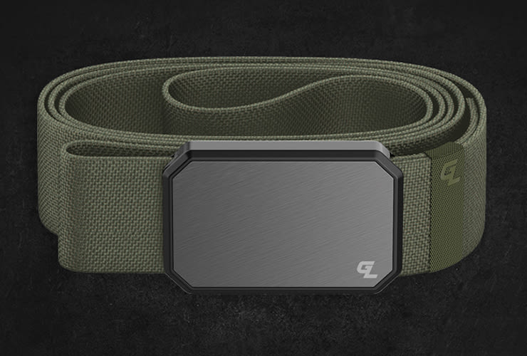 product image of olive green/black buckle groove belt