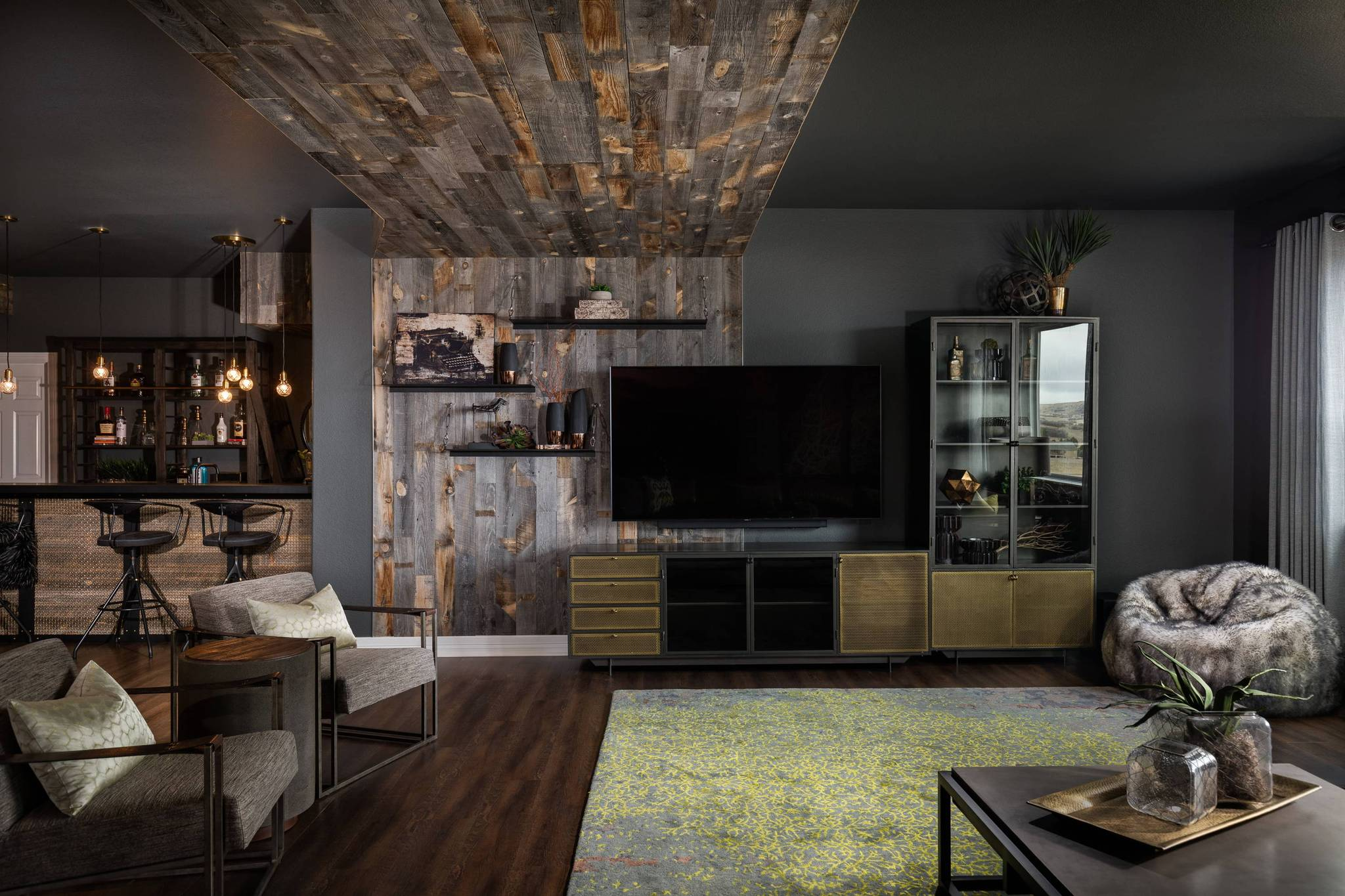damore interiors modern rustic living room design featuring reclaimed Stikwood peel and stick wood planks.